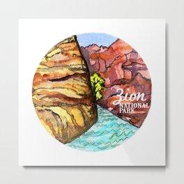 Zion National Park Watercolor Metal Print