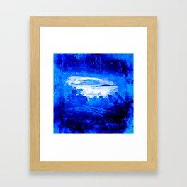 cloudy sky blue turquoise splatter watercolor Framed Art Print