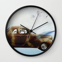 drive Wall Clocks featuring DRIVE by Jerzy Jachym