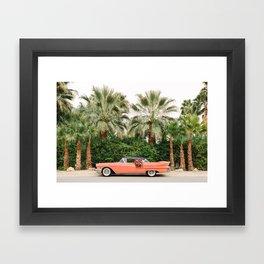 Palm Springs Pink Vintage Car Framed Art Print