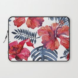 Tropical Background. watercolor tropical leaves and plants. Hand painted jungle greenery background Laptop Sleeve