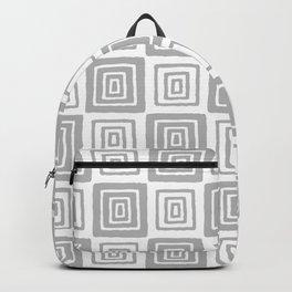 Mid Century Modern Geometric Checker 821 Gray Backpack