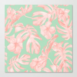Tropical Palm Leaves Hibiscus Pink Mint Green Canvas Print