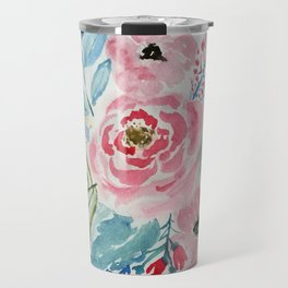Pretty watercolor hand paint floral artwork. Travel Mug