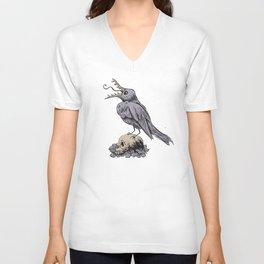 Black Bird on Skull Unisex V-Neck