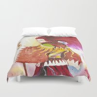 "wizard Duvet Covers featuring Red wizard by Barbara ""Yuhime"" Wyrowińska"