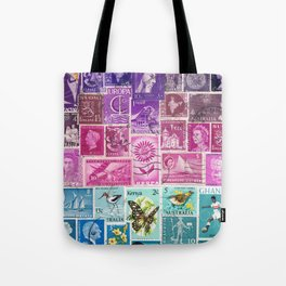 Midnight Sea Postage Stamp Collage Tote Bag