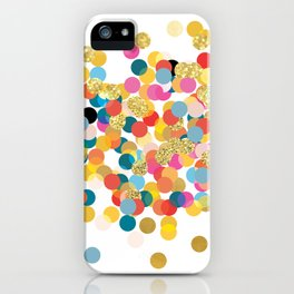 Gold & Colorful Confetti Pattern iPhone Case