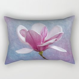 Pink Chinese Magnolia Flower Rectangular Pillow