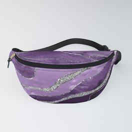Purple Marble Agate Silver Glitter Glam #1 (Faux Glitter) #decor #art #society6 Fanny Pack