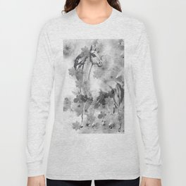 HORSE AND CHERRY BLOSSOMS IN BLACK AND WHITE Long Sleeve T-shirt