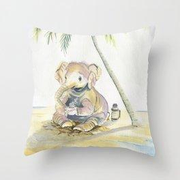 Dreamy Baby Elephant Throw Pillow