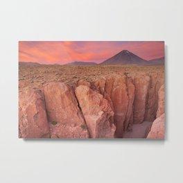 II - Narrow canyon and Volcan Licancabur, Atacama Desert, Chile at sunset Metal Print
