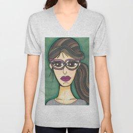 Girl with cateye glasses Unisex V-Neck