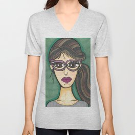 Girl with cateye glasses Unisex V-Neck