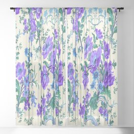 Teal, Blue, Green and Cream Floral Sheer Curtain
