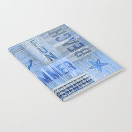Blue Summer Beach Wood Notebook