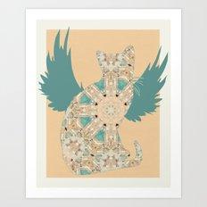 Flight of the Cat - Blue Art Print