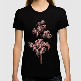 red lace  leaf  watercolor arts T-shirt