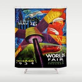 Retro 1934 Chicago World's Fair Travel Poster Shower Curtain