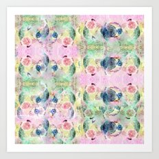 Ysmite Argate-crystal, floral, pastel, abstract Art Print