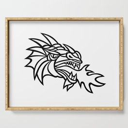 Mythical Dragon Breathing Fire Mascot Serving Tray