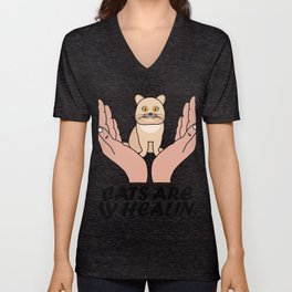 Cats Are My Heal Siamese Cat Gift For Cat Lovers Unisex V-Neck