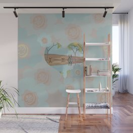 Love Dog Walking with Flowers Wall Mural