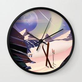Proxima Centauri Vintage Sci-fi Ski travel poster Wall Clock