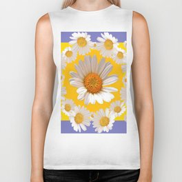 DECORATIVE YELLOW WHITE DAISIES Biker Tank