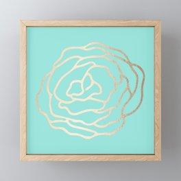 Flower in White Gold Sands on Tropical Sea Blue Framed Mini Art Print