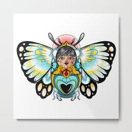 Russian nesting doll butterfly Metal Print