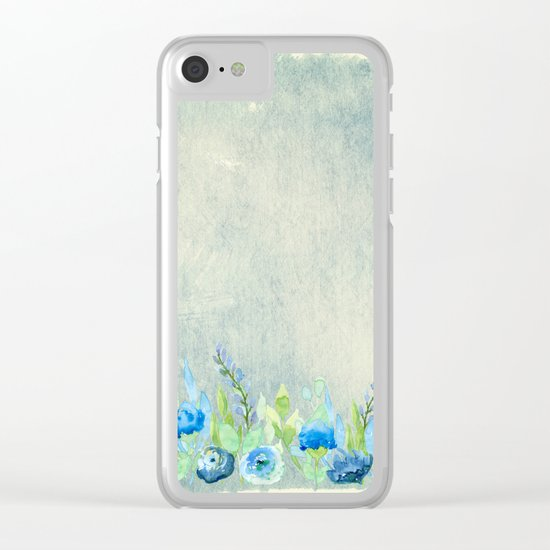 Blue flowers in a meadow- Floral watercolor illustration Clear iPhone Case