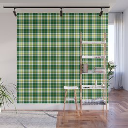 Green and White Plaid Wall Mural
