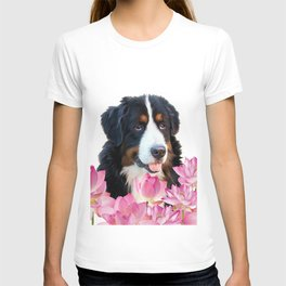 Bernese Mountain Dog between Lotus Flowers #dog #society6 T-shirt