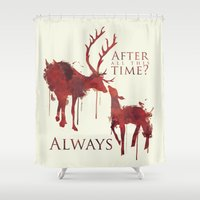 snape Shower Curtains featuring Always by Rose's Creation