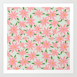 Pretty Hand Paint Pink Daisy Flowers Mint Design Art Print