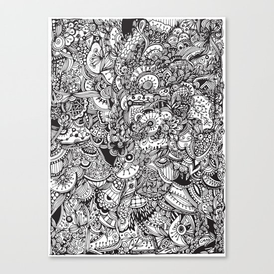 Detailed rectangle, black and white  Canvas Print