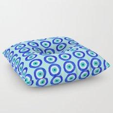 Evil Eye Talisman - on turquoise Floor Pillow