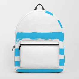 Simply hand-painted teal stripes on white background - Mix & Match Backpack