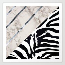 Zebra,marble texture design Art Print