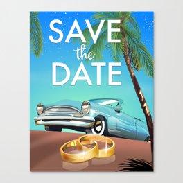 Save the Date Vintage Car Canvas Print