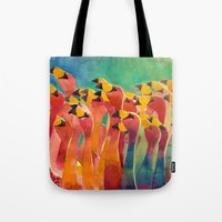 flamingos Tote Bags featuring Flamingos by takmaj