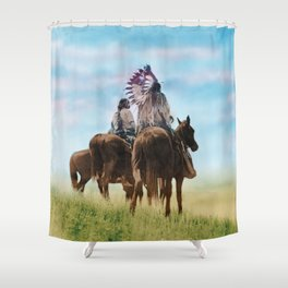 Cheyenne Warriors on the Great Plains - American Indians Shower Curtain