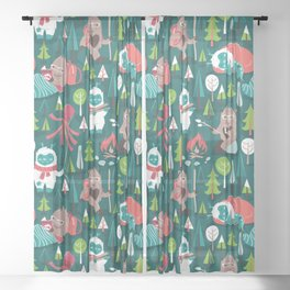 Besties // green background white Yeti brown Bigfoot aqua yellow green and teal pine trees red and coral details Sheer Curtain