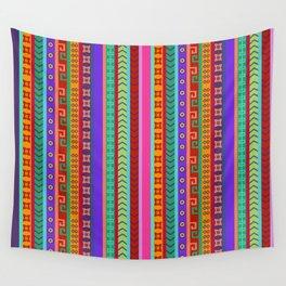 Ethnic Peruvian Motif Striped Pattern Wall Tapestry