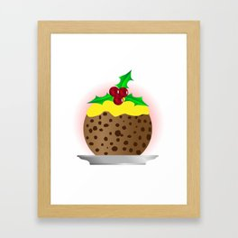 Christmas Pudding With Custard And Holly Sprig Framed Art Print