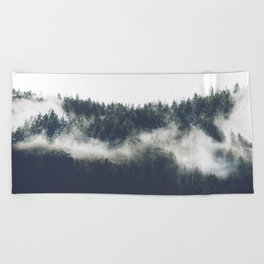 Abstract Forest Fog Beach Towel