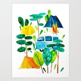 Summer, holidays, adventure, tent and retro bus Art Print
