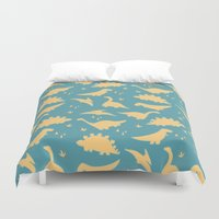 trex Duvet Covers featuring Dinosaurs by Cyan Rose